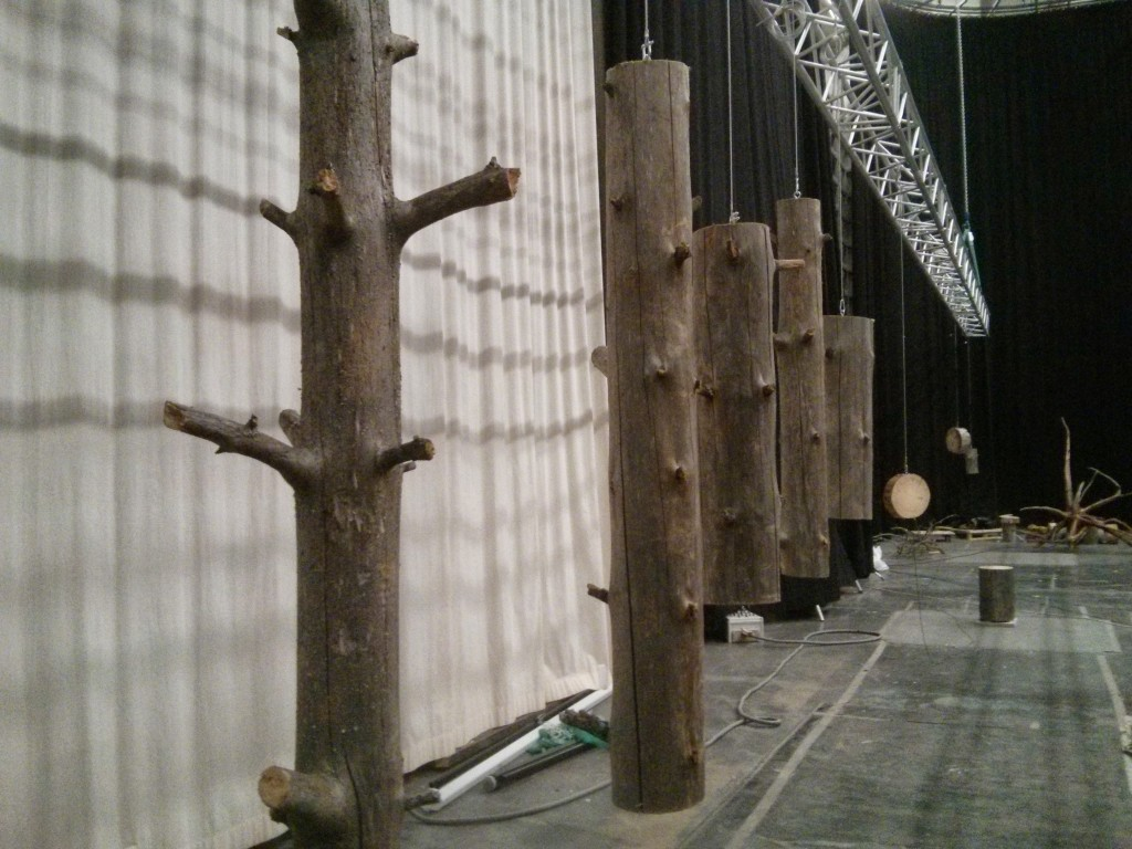 Hanging the the big trunks for a later Helsinki exhibition.